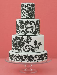 A Black-and-White Patterned Wedding Cake    A black-and-white Parisian wallpaper pattern is so stylish when designed on a round cake.  (From Truli Confectionary Arts, Philadelphia, PA)