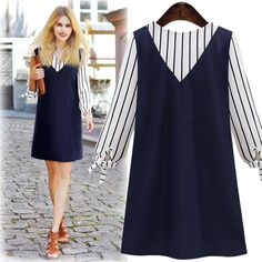 Plus Size Women Dresses 2XL 3XL 4XL 5XL Cute Autumn Dress Long Sleeve V-neck Mini False Two-piece Patchwork Chiffon Dress