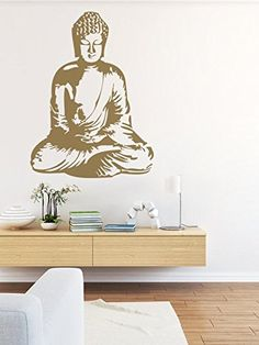 "Buddha Wall Decal, Buddha Wall Art, Asian Wall Decal, Nursery Wall Decal, Dorm Decor, Spiritual Wall Decal, Silhouette Wall Art. 28"" x 39"" NOTE: Wall decal shown in Metallic Gold."