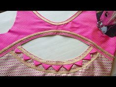 New Model blouse cutting and stitching Blouse Back Neck Designs, Patch Work Blouse Designs, Simple Blouse Designs, Stylish Blouse Design, Blouse Designs Silk, Churidar Neck Designs, Designer Blouse Patterns, Designer Dresses, Blouse Models