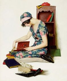 untitled illustration of woman reading (1920's?)--unknown artist (the woman that reads via belindag)
