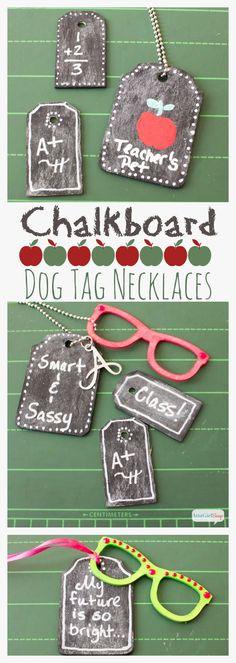 Back to School Crafts: DIY Chalkboard Dog Tag  Necklaces