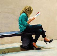 """""""Pause lecture"""" Peinture de l'artiste américaine Karin Jurick"""