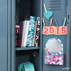 Staples locker tip: Decorate clothespin magnets to accessorize your space. It's not like you were using them for laundry.