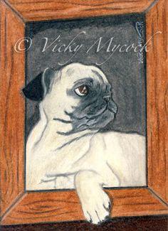 SALE 50% OFF Art Archival Open edition Pug Dog Puppy by majestikart, £3.00