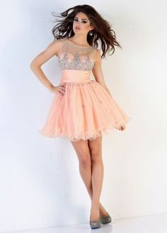 Jewel Short Pink Tulle A Line Homecoming Dress Oxc0086
