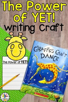 "This Power of Yet Writing Craft is a creative growth mindset activity. This writing activity is perfect for your students to complete after reading the book, Giraffes Can't Dance by Giles Andreae. This craftivity includes a word web, 6 writing paper templates for prompts ""The Power of Yet"" and ""I Can't...Yet,"" giraffe topper, and word wall cards. You can display these giraffe crafts along with the bulletin board letters for the whole school to see! #growthmindset #powerofyet #giraffescantdance"