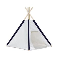 Dogs need their own little sanctuary, too. This one comes in a classic teepee shape, made from canvas with wooden poles. It'll be a cute addition to your home, and a great place for the pup to chill ou...  Find the Blue-Stripe Doggie Hut, as seen in the The Pet Boutique Collection at http://dotandbo.com/collections/holiday-boutiques-the-pet-boutique?utm_source=pinterest&utm_medium=organic&db_sku=113246