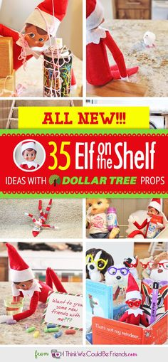 ALL NEW Elf on the Shelf ideas for this year!! The best NEW creative (EASY & funny) DIY Elf on the Shelf ideas for toddlers through teens each with a Dollar Tree prop! Many with FREE Christmas printable, too! #Christmas #ElfOnTheShelf #Ideas #Easy #Funny #Toddlers #DIY #DollarStore.
