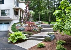 Granite steps & Plantings - All For Garden Front Door Steps, Front Stairs, Front Walkway, Patio Steps, Wood Steps, Retaining Wall Patio, Front Gardens, Outdoor Stairs, House Landscape
