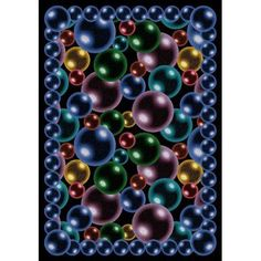 Joy Carpets Bubbles Kids Area Rug Rainbow - 1506-BB-RAINBOW