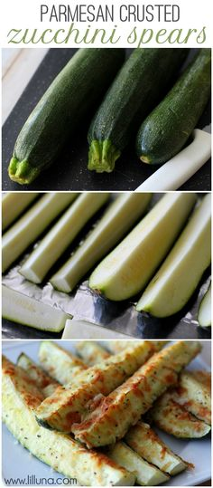 Delicious and healthy Parmesan Crusted Zucchini recipe on { lilluna.com }