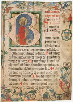 Manuscript Leaf from a Missal    Date:      late 15th century  Culture:      Austrian  Medium:      Parchment, tempera, ink, shell gold, gold leaf  Dimensions:      Overall: 14 3/16 x 10 1/16 in. (36 x 25.5 cm) Historiated initial: 5 7/16 x 5 1/4 in. (13.8 x 13.3 cm) Study mat size: 17 15/16 x 14 in. (45.5 x 35.5 cm)  Classification:      Manuscripts & Illuminations  Credit Line:      Bequest of Mrs. A. M. Minturn, 1890