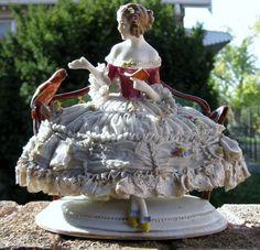 Large Antique German Porcelain Dresden Lace Figurine❤❤❤