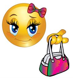 This smiley has her bow just so and her purse loaded with cash.
