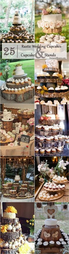 Rustic Wedding Cupcakes & Rustic Wedding Cake Stands /  / http://www.deerpearlflowers.com/rustic-wedding-cupcakes-stands/