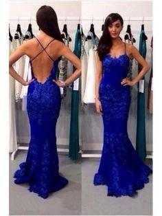 royal blue lace prom dresses 2017,Modern Royal Blue Lace Prom Dress Mermaid Spaghetti Strap Prom Dress