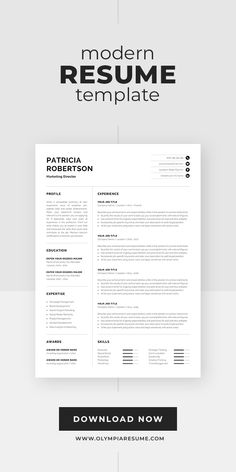 The resume template Patricia is designed to showcase your skills and experience in a professional and effective way. The layout is optimized for building a resume that is informative, visually attractive and easy to navigate. Includes resume, cover letter and references templates, extra social media and contact icons, and a detailed user guide. Available for Microsoft Word and Pages for Mac. #resume #resumetemplate #resumedesign #cv #cvtemplate #cvdesign #jobsearch #career #careeradvice One Page Resume Template, Modern Resume Template, Cv Template, Resume Templates, Cv Design, Resume Design, Cover Letter For Resume, Cover Letter Template, Cv Words