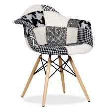 Silla WOODEN ARMS PATCHWORK -Black & White Pepy Edition-