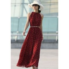 Cheap Wholesale Elegant Keyhole Neckline Polka Dot Sleeveless Chiffon Women's Maxi Dress With Belt (WINE RED,ONE SIZE) At Price 12.84 - DressLily.com