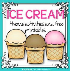 Ice cream theme activities, printables, centers and games for preschool, pre-K and Kindergarten. Play Ice Cream, Ice Cream Games, Ice Cream Art, Ice Cream Theme, Ice Cream Crafts, Trim Healthy Recipes, Ice Cream Social, Food Themes, Summer Treats