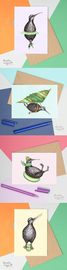 The cutest kiwi bird greeting cards! Kiwi Bird, Bird Cards, Winter Cards, Canadian Artists, Funny Cards, Animal Paintings, Etsy Store, Coloring Books, Birthday Cards