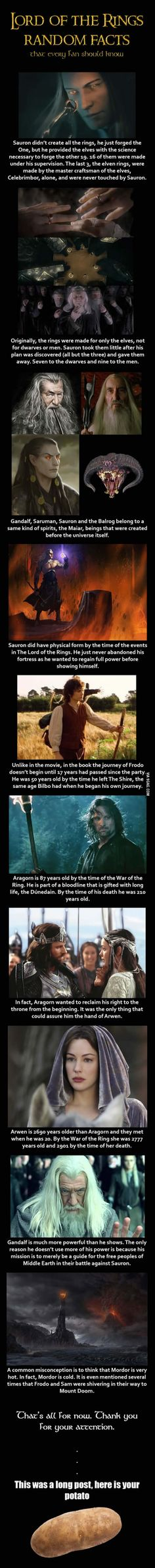 Here are some Lord of the Rings random facts, a few of which I actually was not aware of.