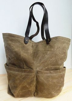 Tan Waxed Canvas Tote Bag by jackandmarjorie on Etsy