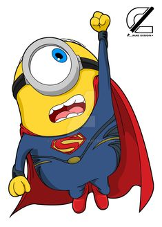 Superman by KururuLabo on DeviantArt Minions Cartoon, Cute Minions, Minions Despicable Me, Minions Quotes, Disney Drawings, Cute Drawings, Funny Minion Pictures, Funny Photos, Funny Images