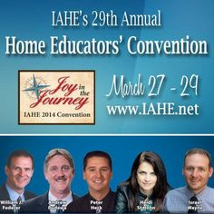 Three FREE events on March 27. prior to the IAHE Convention! • Intro to Home Education • Intro the Homeschool Through High School • Classical Education Event  • #IAHEcon14