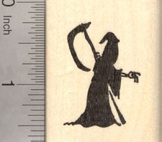 Halloween Grim Reaper Silhouette Rubber Stamp, Death Facing Right - E22502