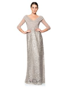 Tadashi Shoji Ruched Tulle Woven Bodice 3/4 Sleeve Gown