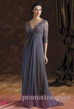 Empire Waist Lace Chiffon Mother Dresses 2015 Deep Vneck Half Sleeves Aline Formal Dresses Dark Navy Prom Evening Party Dresses Cheap Gowns
