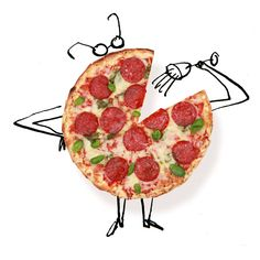 Pizza is a tried and true match for barbera. It is flattered by the acidity, fruitiness and modest bitterness of the wine. (Illustration: Serge Bloch)