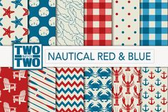 Nautical Digital Paper: Red and Blue - WP Themes Daddy