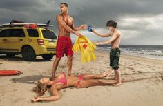 This is a truly disturbing ad for Pepsi-Cola. In this picture a woman lies unconscious on the beach while the life guard trades his shirt for a Pepsi. An eager young boy takes the shirt while looking lustfully  at the woman's body. This ad suggests that the woman's life is worth less than a 16 oz soda, while promoting the idea that women in distress should be objectified rather than helped.
