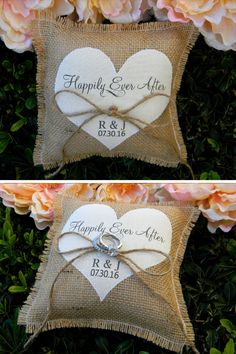 Burlap Ring Bearer Pillow Personalized Ring Bearer by justforkeeps
