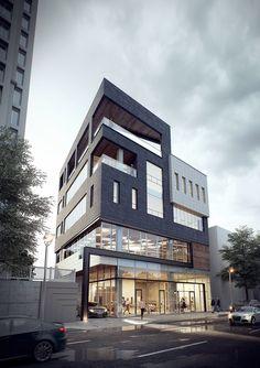 근생 발코니에 대한 이미지 검색결과 Archi Design, Facade Design, Exterior Design, Commercial Architecture, Facade Architecture, Residential Architecture, Small Buildings, Modern Buildings, Minecraft Build House