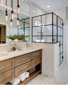 Beautiful master bathroom decor tips. Modern Farmhouse, Rustic Modern, Classic, light and airy bathroom design tips. Bathroom makeover suggestions and master bathroom renovation tips. Lily Ann Cabinets, White Cabinets, Kitchen Cabinets, Kitchen Counters, Island Kitchen, Wood Cabinets, Bathroom With Black Cabinets, Modern Bathroom Cabinets, Restroom Cabinets