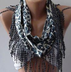 Elegance  Shawl / Scarf with Lacy Edge Blue   Leopard by womann, $19.00