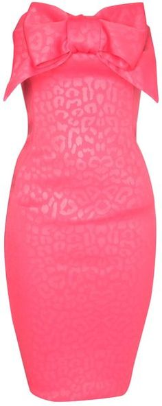 Jane Norman // Pink Bow Front Bandeau Dress.