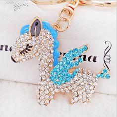 Red Blue Full Rhinestone Crystal Horse Keychain Alloy Keyring HandBag Charm Gold Plated Best Present Christmas Gift(China (Mainland))