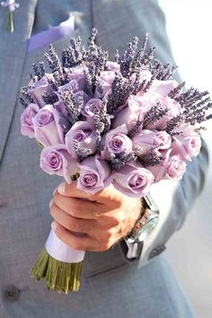 purple roses and lavender bouquets