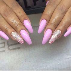  Pink Nail Polish & Pink and Silver Glitter 