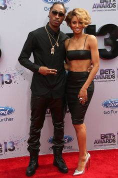 Singer Ciara and rapper Future - wore all black leather.