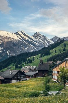 Mürren, Switzerland - a tiny village on a steep mountainside in the Bernese Oberland. It's only accessible by cable car, so the town is automobile-free.