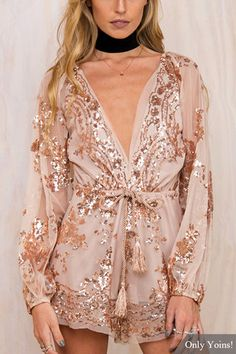 Love the Sparkles! You will stand out in the crowd with sequins playsuit. You will be the afterparty when you wear it. Featuring v-neck, long sleeves, drawstring waist, elastic cuffs and special for the sequins. Perfect with heels or sandals. #Sparkly #Bing #Pink_and_Gold #Sequins #Romper #Fashion
