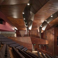 A theatre in Belfast with a faceted timber interior is another of the six buildings shortlisted for the 2012 Stirling Prize and was designed by Irish architects O'Donnell + Tuomey Acoustic Architecture, Theatre Architecture, Amazing Architecture, Art And Architecture, Architecture Details, Dezeen Architecture, Architecture Events, Stirling, Auditorium Design
