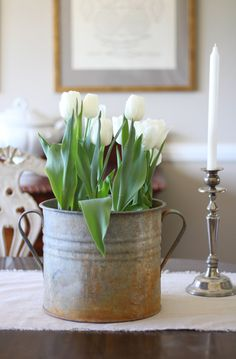 spring decor with tulips