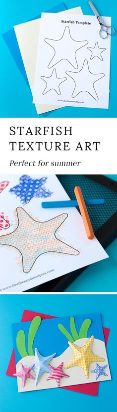 Summer is the perfect season for creating Starfish Texture Art with kids. This easy craft contains a free template, making it perfect for home or school. via @https://www.pinterest.com/fireflymudpie/